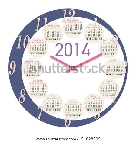 A round clock shaped calendar for 2014, moon phases included - stock vector