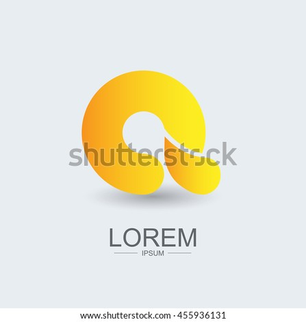 A round shape logo icon yellow gradient, alphabet letter - stock vector