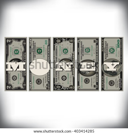A row of bills money graphic with space for text  - stock vector