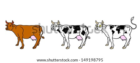 A row of cute cartoon cows with world atlas pattern.  - stock vector