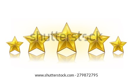 a row of golden realistic stars on white - stock vector