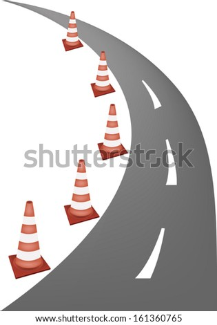 A Row of Orange and White Safety Road Cones or Traffic Cones on A Road for Traffic Redirection or Warning of Hazards or Dangers.  - stock vector
