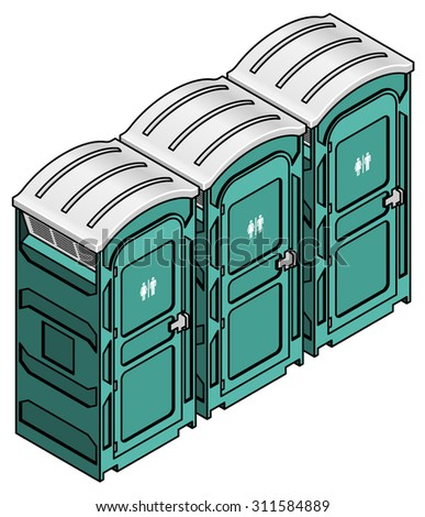A row of three portable toilets for outdoor events and construction sites.  - stock vector