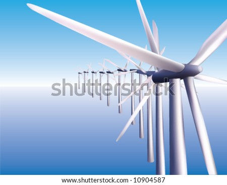 A row of windmills in the ocean creating offshore wind power - stock vector
