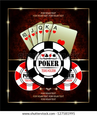 A royal flush playing cards poker hand in hearts. - stock vector
