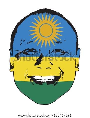 A Rwanda flag on a face, isolated against white.  - stock vector