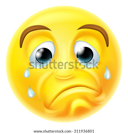 A sad crying emoji emoticon smiley face character with tears streaming down his face - stock vector
