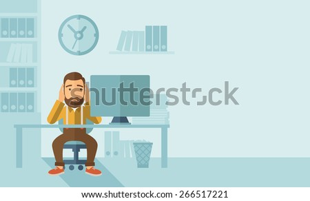 A sad hipster Caucasian businessman with beard sitting infront of his table looking at laptop having a problem reaching the deadline of his report. A contemporary style with pastel palette soft blue - stock vector