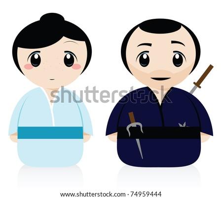 a samurai and a geisha - stock vector