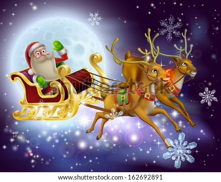 A Santa Claus sleigh Christmas scene of Santa Claus flying through the air on his sled being pulled by reindeer with snowflakes and full moon - stock vector