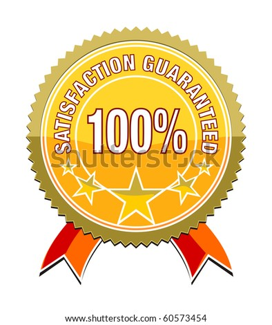 a satisfaction guaranteed sticker for your website gold - stock vector