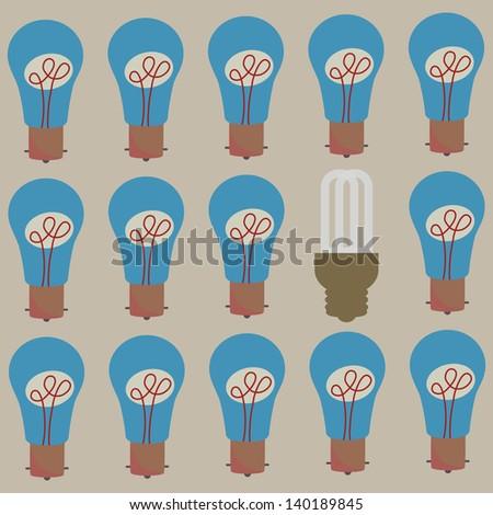 A save energy bulb among incandescent light bulbs, vector 10 encapsulated postscript - stock vector