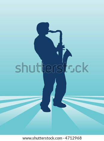 A sax player plays on an ethereal background - stock vector