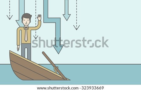 A scared asian businessman standing on a sinking boat asking for help with arrows pointing down behind his back. Bankruptcy concept. Vector line design illustration. Horizontal layout with a text