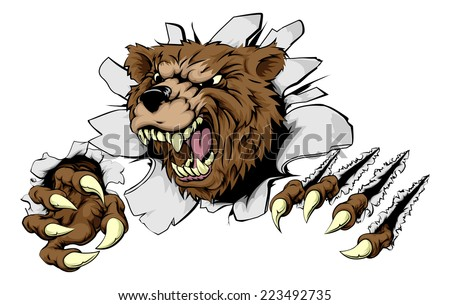 A scary Bear ripping through the background with sharp claws - stock vector