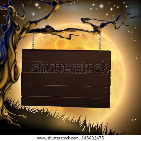 A scary Halloween wood sign hanging from a spooky tree ready for your message  - stock vector