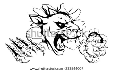 A scary panther mascot ripping through the background with sharp claws - stock vector