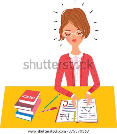 A school girl doing homework. Vector illustration. - stock vector