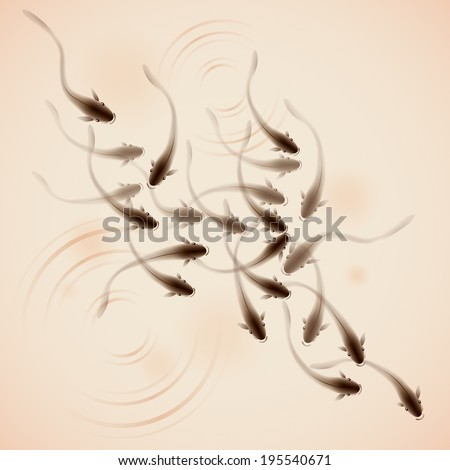 A school of fish swimming together, vectorized brush painting, symbolize harmony. - stock vector