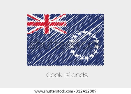 A Scribbled Flag Illustration of the country of Cook Islands