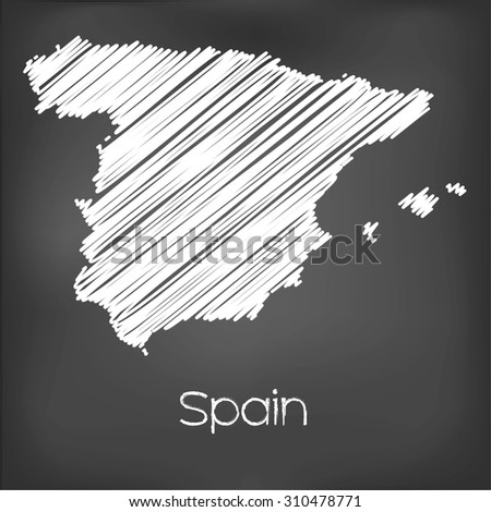 A Scribbled Map of the country of Spain - stock vector
