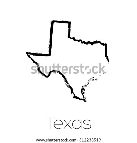 A Scribbled shape of the State of Texas - stock vector