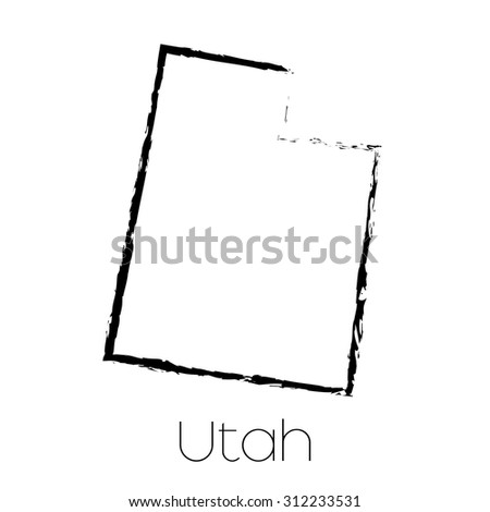 A Scribbled shape of the State of Utah - stock vector