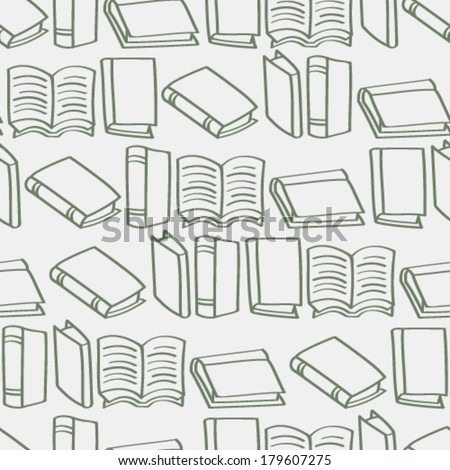 A seamless background tile with outlined cartoon books pattern.