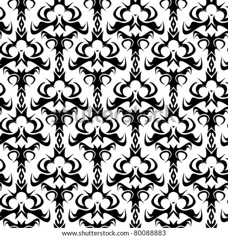 A seamless damask pattern or texture in vector format - stock vector