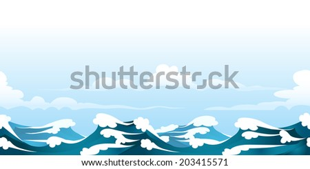 a seamless horizontal pattern with ocean waves - stock vector