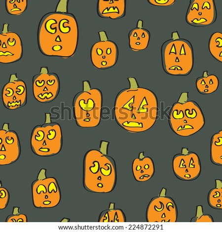 A seamless pattern of cartoon jack o lanterns with silly expressions - stock vector