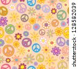A seamless pattern of flowers and peace signs intermingled. - stock vector