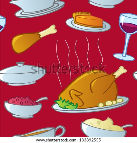 A seamless pattern of traditional American Thanksgiving and Christmas Holiday Season food. - stock vector