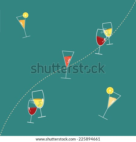 A seamless pattern of wine glasses filled with colorful drinks! - stock vector