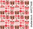 A seamless pattern with gift boxes and cupcakes - stock vector