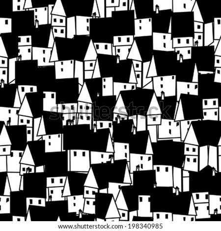 A seamless pattern with house - stock vector