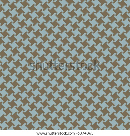 A seamless, repeating vector houndstooth pattern in blue and olive green. - stock vector