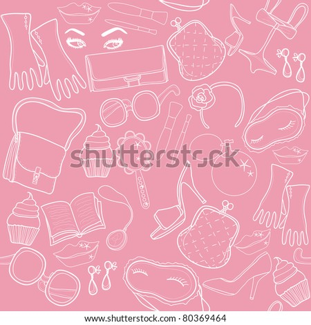 a seamless texture with elements of beauty and fashion. pink - stock vector