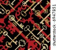 A seamless vector pattern of old-time skeleton keys in gold, red and black. - stock vector