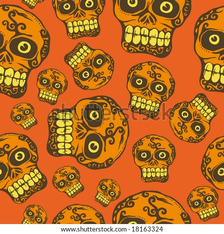 a seamless vector pattern with halloween skull