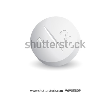 a second white tablet on white background - stock vector