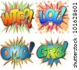 A Selection of Comic Book Abbreviations and Acronyms, WTF, LOL, OMG, GR8 WTF, Laugh Out Loud, Oh My God, Great - stock vector