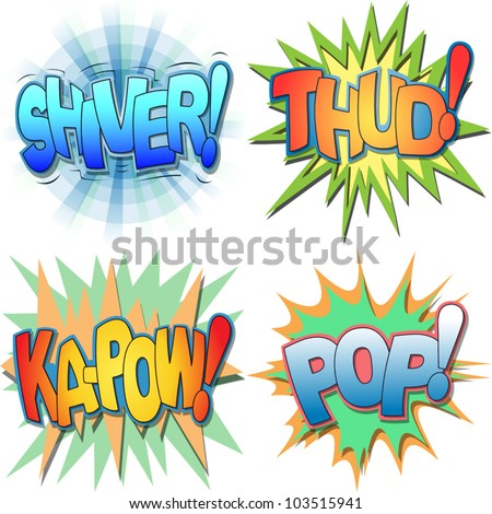 A Selection of Comic Book Exclamations and Action Words, Shiver, Thud, Ka-pow, Pop. - stock vector