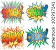 A Selection of Comic Book Exclamations and Action Words, Smack, Snap, Zoinks, Crack. - stock vector