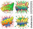 A Selection of Comic Book Exclamations and Action Words, Vroom, Crash, Oops, Plop. - stock photo
