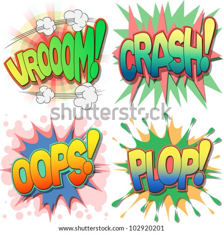 A Selection of Comic Book Exclamations and Action Words, Vroom, Crash, Oops, Plop. - stock vector