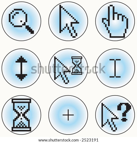 A selection of different cursor designs - stock vector