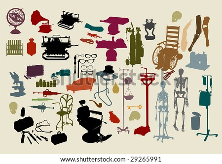 "a selection of objects with the theme, ""mad scientist""  :HIGH QUALITY vector paths. For more silhouettes, see my files #26799640, #13963618, #13360948, #13360951, #14051254, #19737103 & NEW #29956426"