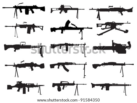 a selection of shapes machine guns - stock vector