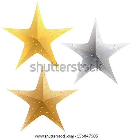 A selection of sparkling gold, silver and bronze stars. - stock vector